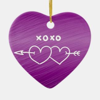 XOXO,hearts,purple (I) Double-Sided Heart Ceramic Christmas Ornament