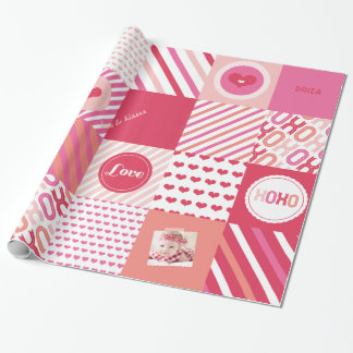 XOXO Hot Pink Valentine Patchwork Sweet Love Photo Gift Wrap Paper