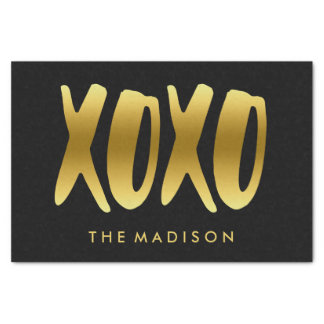 XOXO Hugs and Kisses Faux Gold Typography Black Tissue Paper