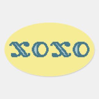 XOXO Hugs and Kisses Oval Sticker