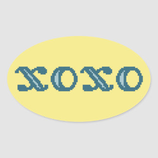 XOXO Hugs and Kisses Oval Sticker
