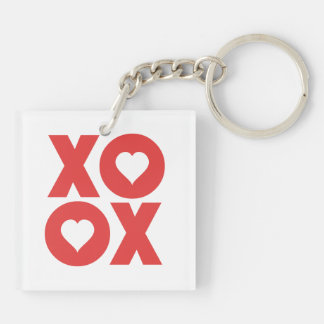 XOXO Hugs and Kisses Valentine's Day Double-Sided Square Acrylic Keychain