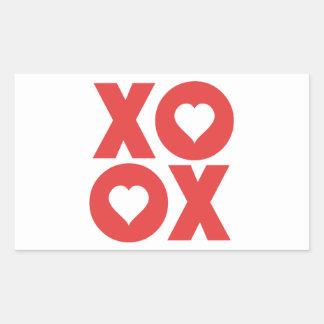 XOXO Hugs and Kisses Valentine's Day Rectangular Stickers