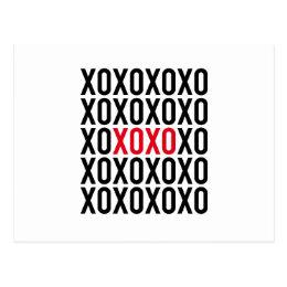 XOXO, hugs and kisses, word art, text design Postcard