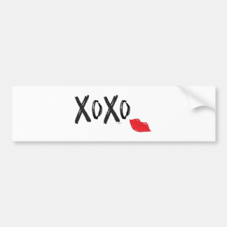 XoXo-Hugs-Kisses-with-Red-Lips Bumper Sticker