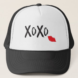 XoXo-Hugs-Kisses-with-Red-Lips Trucker Hat