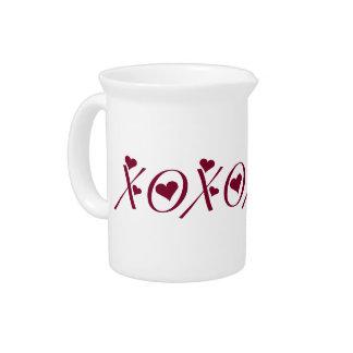 XOXO Hugs n Kisses Hearts Valentine's Day Beverage Pitchers