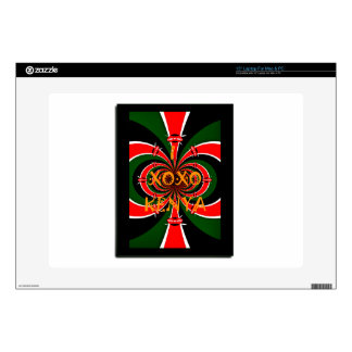 "XOXO I Love Kenya Black Red Green National Flag Co Decal For 15"" Laptop"