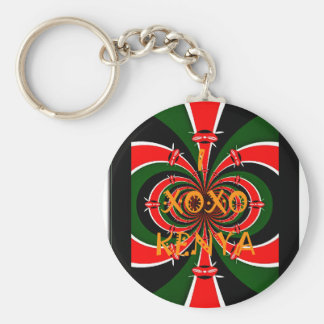 XOXO I Love Kenya Black Red Green National Flag Co Keychain