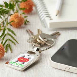 XOXO I Love Kenya Silver-Colored Rectangular Metal Keychain