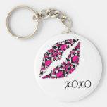 XOXO Kiss Basic Round Button Keychain