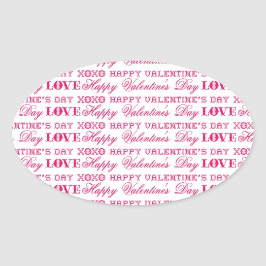 XOXO Love Happy Valentine's Day Pink Red Gifts Oval Sticker