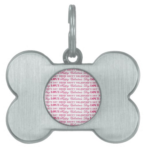 XOXO Love Happy Valentine's Day Pink Red Gifts Pet Tag