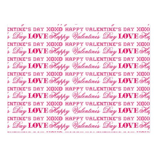 XOXO Love Happy Valentine's Day Pink Red Gifts Postcard
