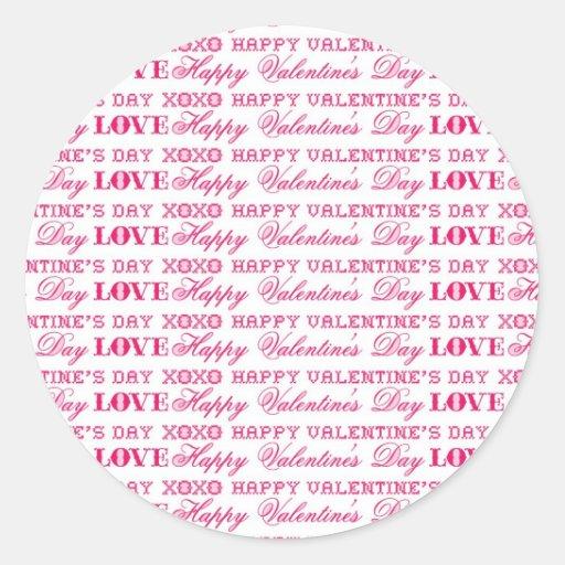 XOXO Love Happy Valentine's Day Pink Red Gifts Classic Round Sticker