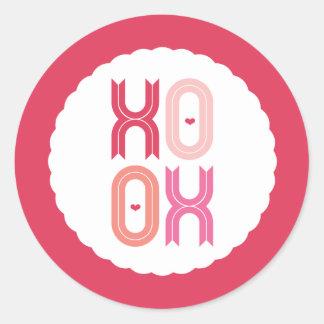 XOXO Love & Kisses Valentine Party 3 Inch Stickers