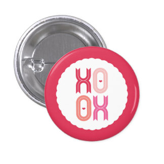 XOXO Love & Kisses Valentine Party Sweet Buttons