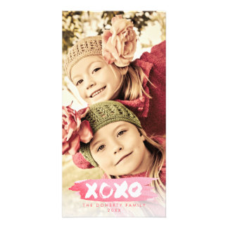 XOXO Love Watercolor Christmas Photo Overlay Card