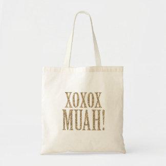 XOXO MUAH! glitter tote for bridesmaids