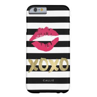 XOXO Pink Lip Print Black & White Stripe Barely There iPhone 6 Case