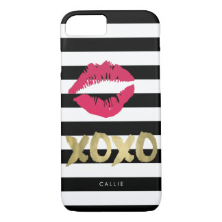 XOXO Pink Lip Print Black & White Stripe iPhone 8/7 Case
