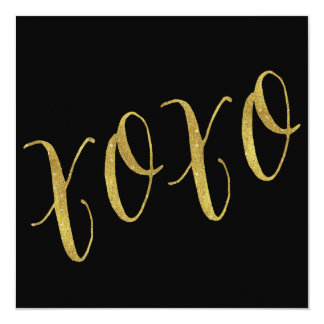 XOXO Quote Faux Gold Foil Glitter Background Card