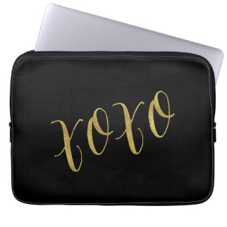 XOXO Quote Faux Gold Foil Glitter Background Laptop Sleeve