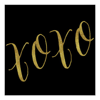 XOXO Quote Faux Gold Foil Glitter Background Poster
