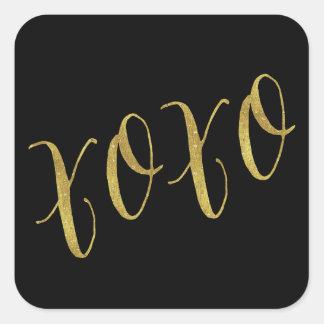XOXO Quote Faux Gold Foil Glitter Background Square Sticker