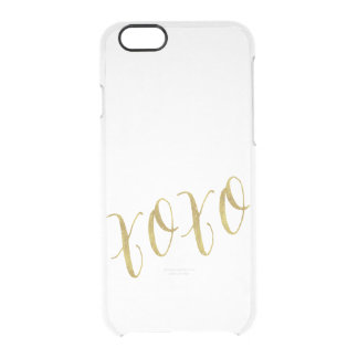 XOXO Quote Faux Gold Foil Glitter Background Uncommon Clearly™ Deflector iPhone 6 Case