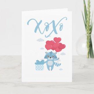 Xoxo Raccoon And Balloons Valentines Day Holiday Card