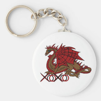 XOXO red and brown dragon Basic Round Button Keychain