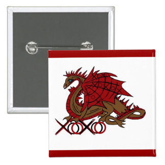 XOXO red and brown dragon Button