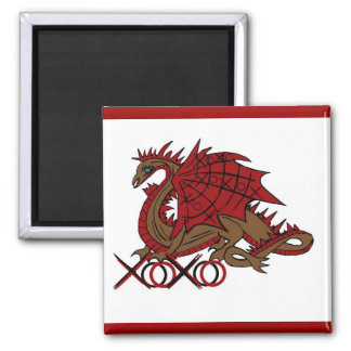 XOXO red and brown dragon Fridge Magnets