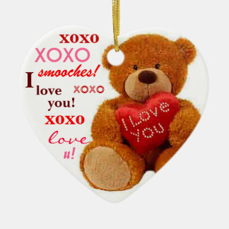 XOXO Romantic Teddy Bear Valentine Heart Ceramic Ornament
