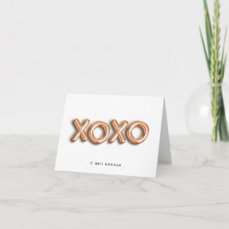 XOXO Rose Gold Balloon Personalized Note Card