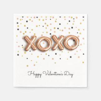 XOXO Rose Gold Balloons   Valentine's Day Napkin