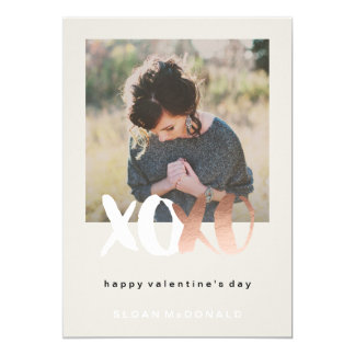 XOXO Rose Gold Foil Valentine's Day Photo Cards