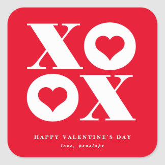 xoxo square valentine's day sticker