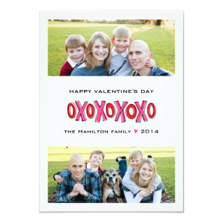 "XOXO Two-Photo Family Valentine's Day Card 5"" X 7"" Invitation Card"