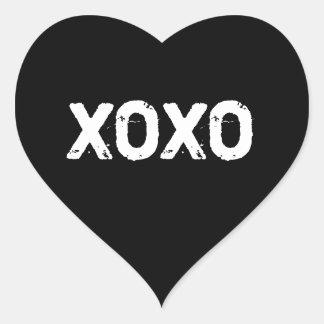 XOXO Valentines Day Black White Hugs Kisses Custom Heart Sticker