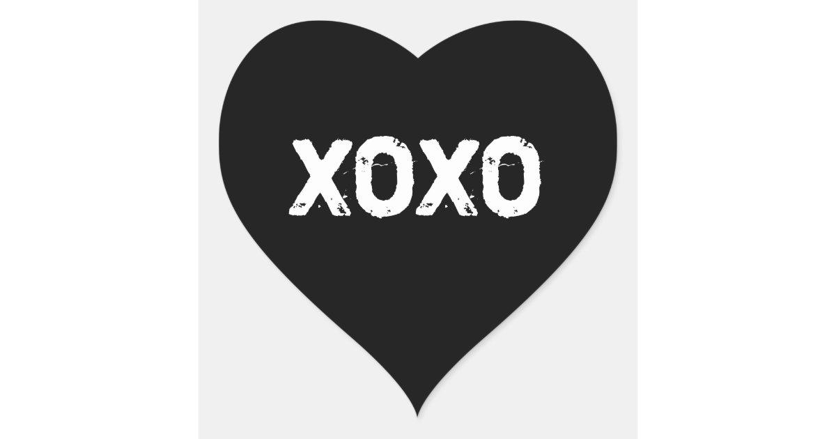 XOXO Valentines Day Black White Hugs Kisses Custom Heart ...