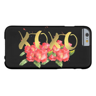 Xoxo Valentine's Watercolor Flowers in Black Barely There iPhone 6 Case