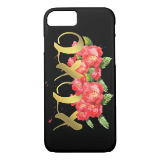 Xoxo Valentine's Watercolor Flowers in Black iPhone 8/7 Case