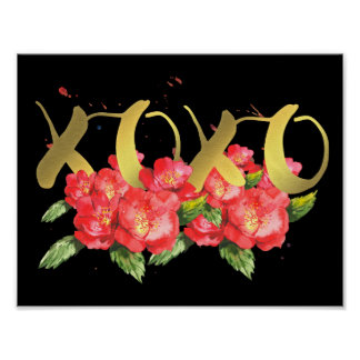Xoxo Valentine's Watercolor Flowers in Black Poster