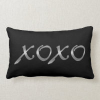 XOXO's in Silver & Black Lumbar Pillow