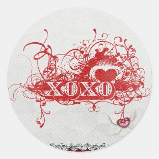 xoxoxo hugs kisses fancy wordart classic round sticker