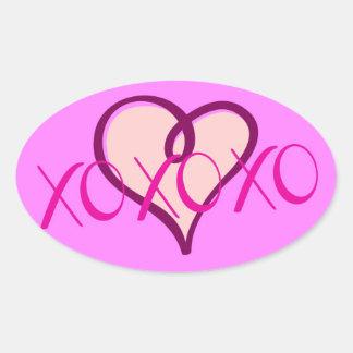 """XOXOXO"" Stickers/Seals/Labels Oval Sticker"