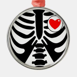 xray heart metal ornament