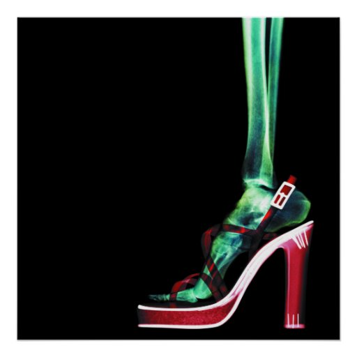 XRAY HIGH HEEL LADY SKELETON FOOT ORIGINAL PRINT